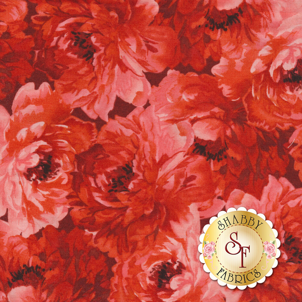 Tonal red roses all over red | Shabby Fabrics