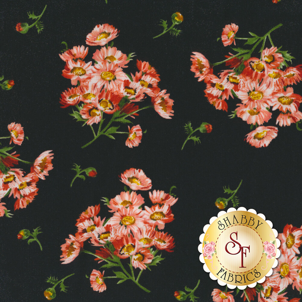 Flower clusters and flower buds tossed on black   Shabby Fabrics