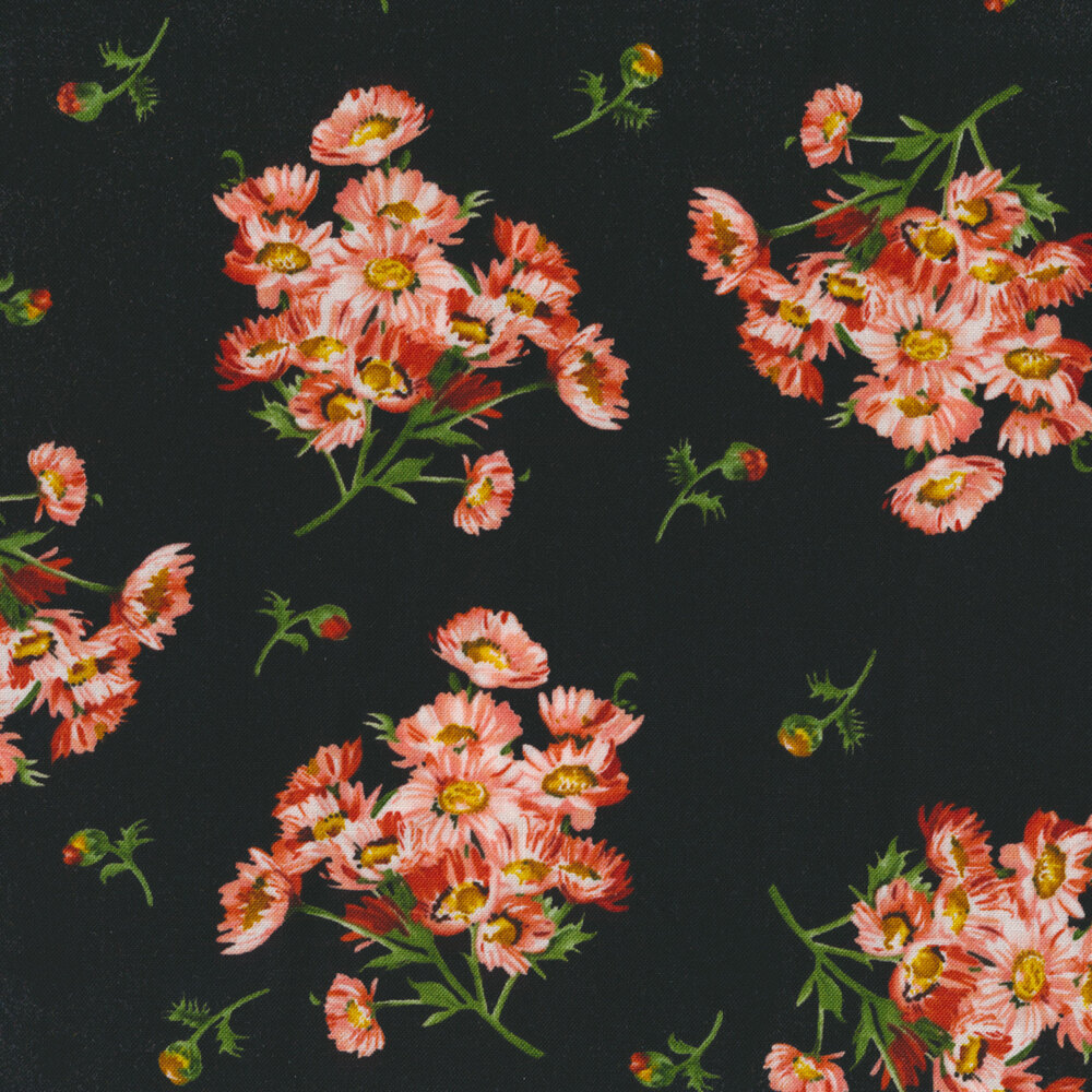 Flower clusters and flower buds tossed on black | Shabby Fabrics