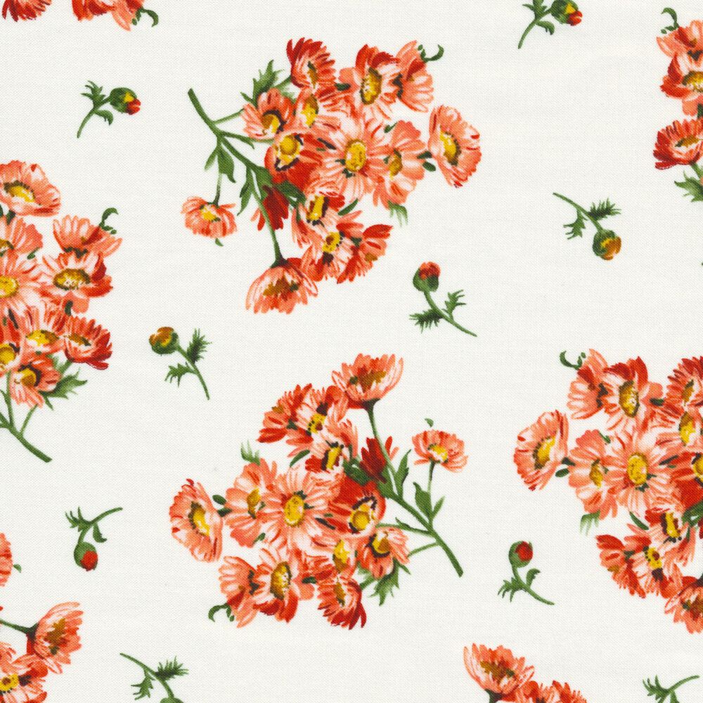 Flower clusters and flower buds tossed on white | Shabby Fabrics