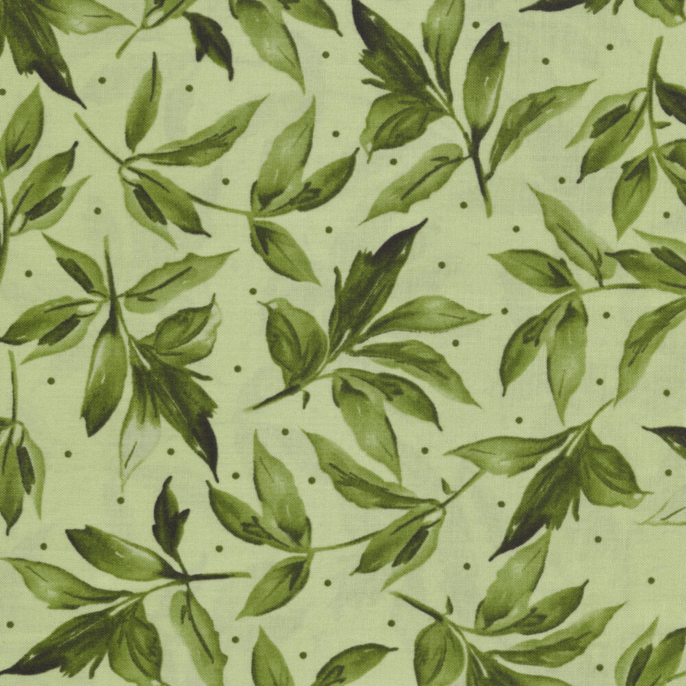Tonal leaves and dots all over light green | Shabby Fabrics