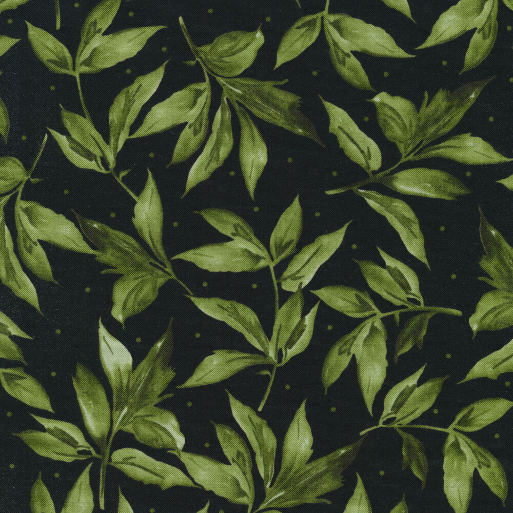 Green leaves and dots all over black | Shabby Fabrics