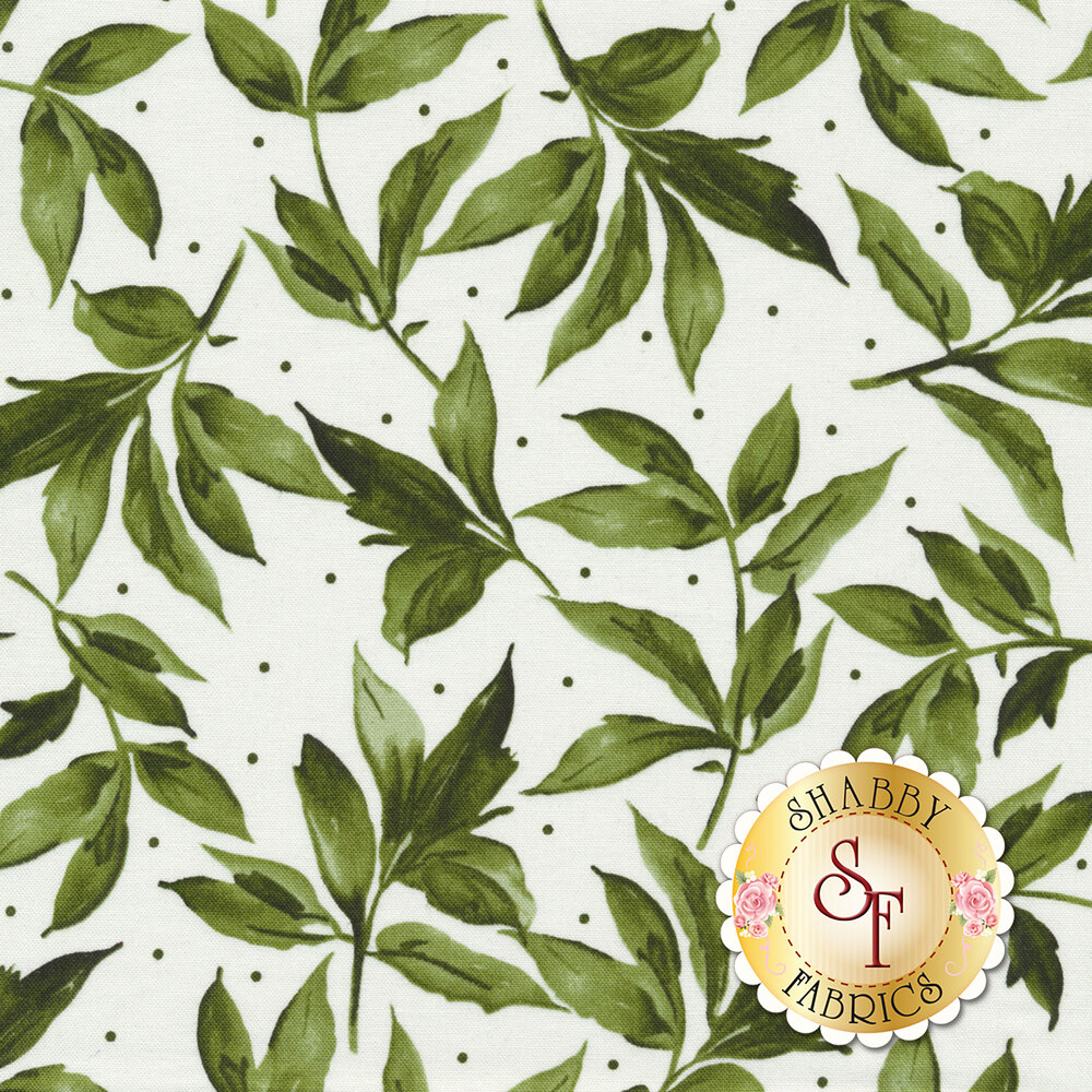 Green leaves and dots all over white | Shabby Fabrics