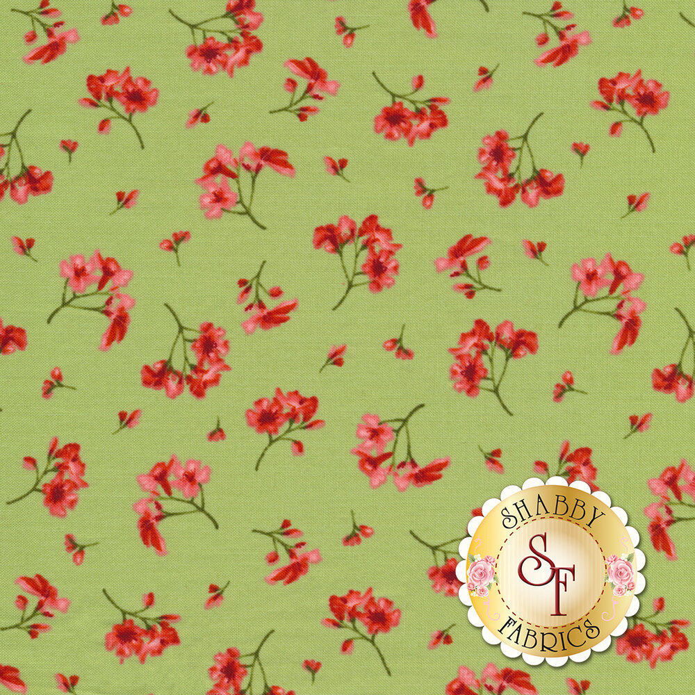 Small pink flowers tossed on green | Shabby Fabrics