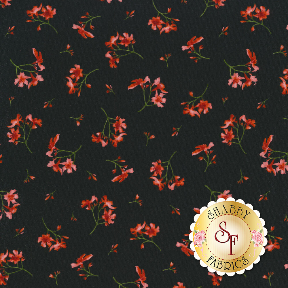 Small pink flowers tossed on black | Shabby Fabrics