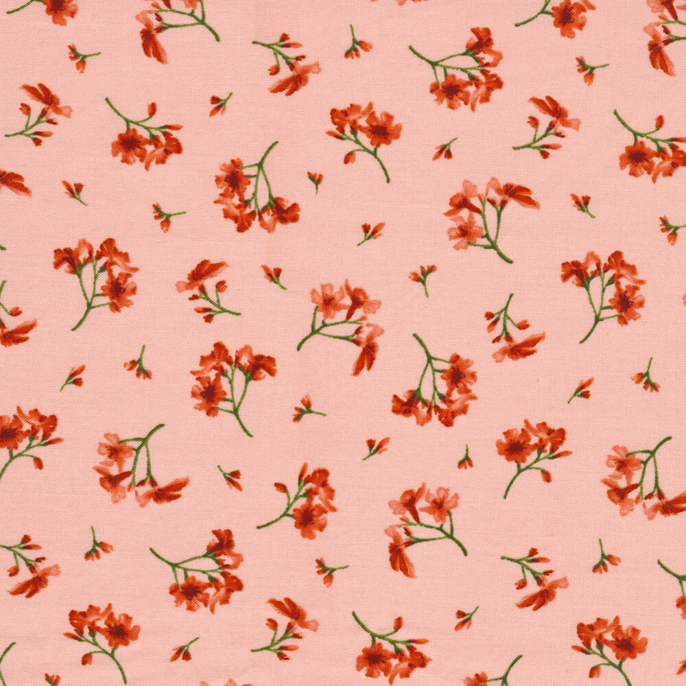 Small red flowers tossed on light pink | Shabby Fabrics