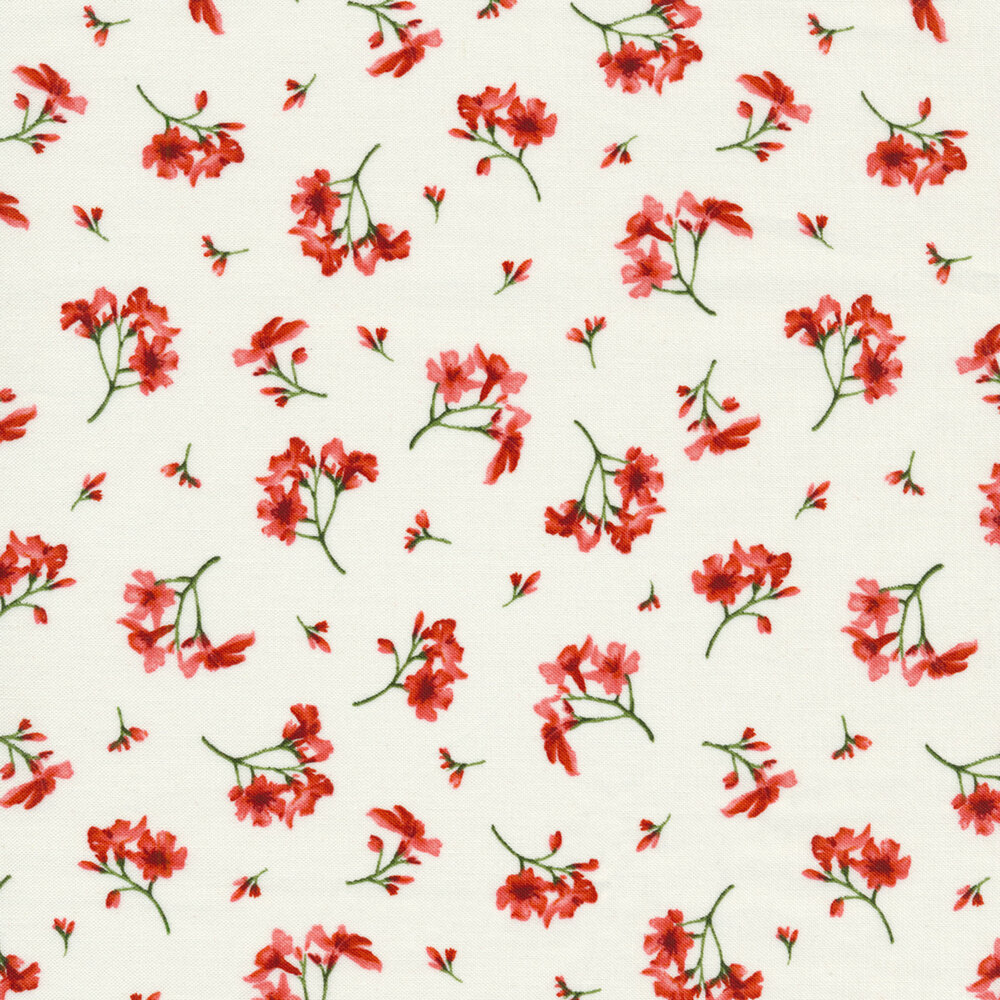 Small pink flowers tossed on white | Shabby Fabrics