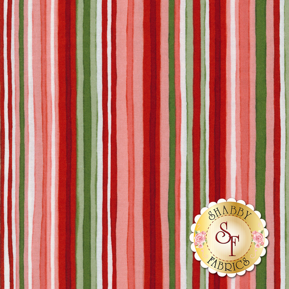 Red and pink stripes with white and green | Shabby Fabrics