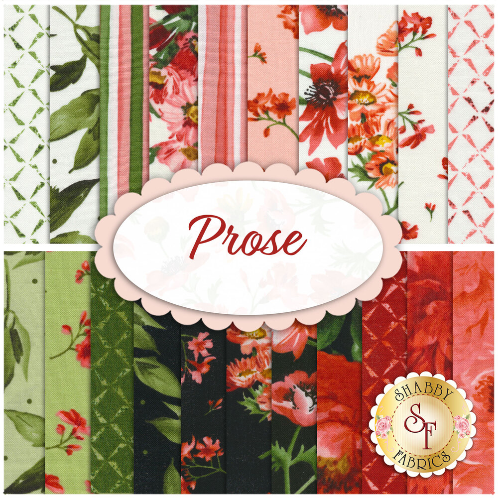 Collage of fabrics included in Prose collection | Shabby Fabrics