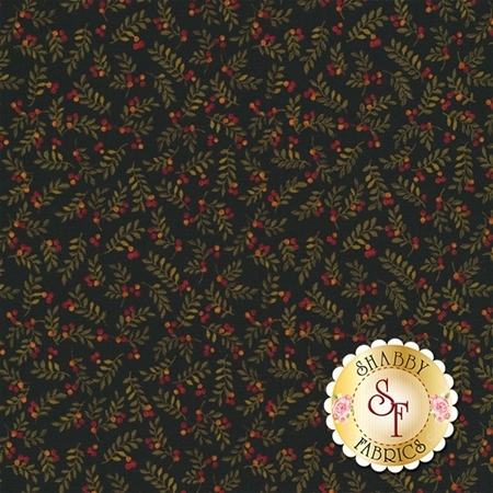 Pumpkin Patch 2549-12 Leaves & Berries Black Multi by Cheryl Haynes for Benartex Fabrics