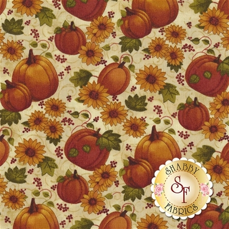 Pumpkin Patch 2771-07 Pumpkins & Sunflowers Cream Multi by Cheryl Haynes for Benartex Fabrics