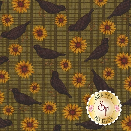Pumpkin Patch 2773-40 Sunflowers and Crows Green by Cheryl Haynes for Benartex Fabrics