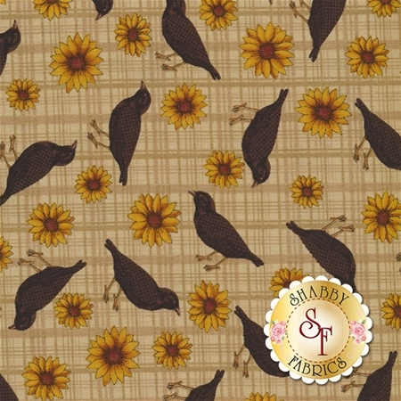 Pumpkin Patch 2773-70 Sunflowers and Crows Tan by Cheryl Haynes for Benartex Fabrics