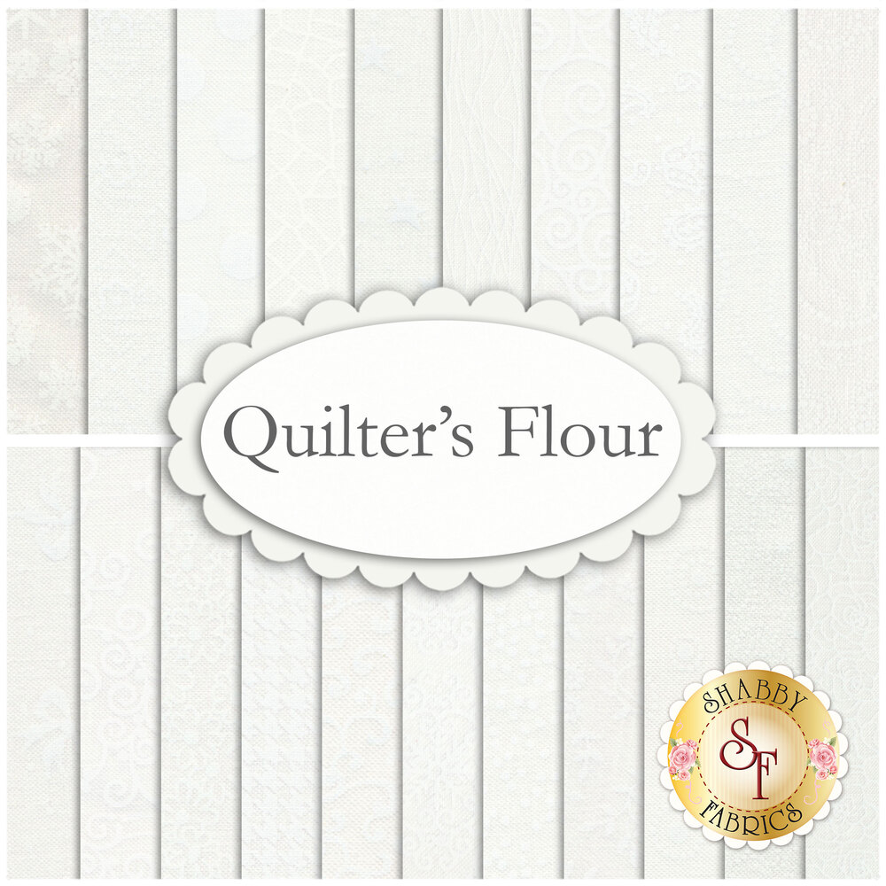A collage of the Quilter's Fabric white on white fabric collection | Shabby Fabrics