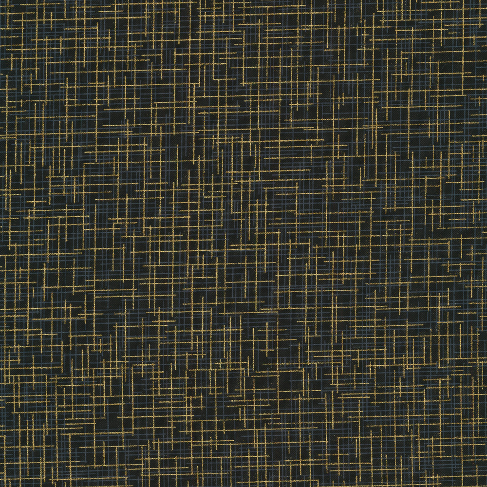 Tonal cross marks and dashes all over a black background with gold metallic accents | Shabby Fabrics