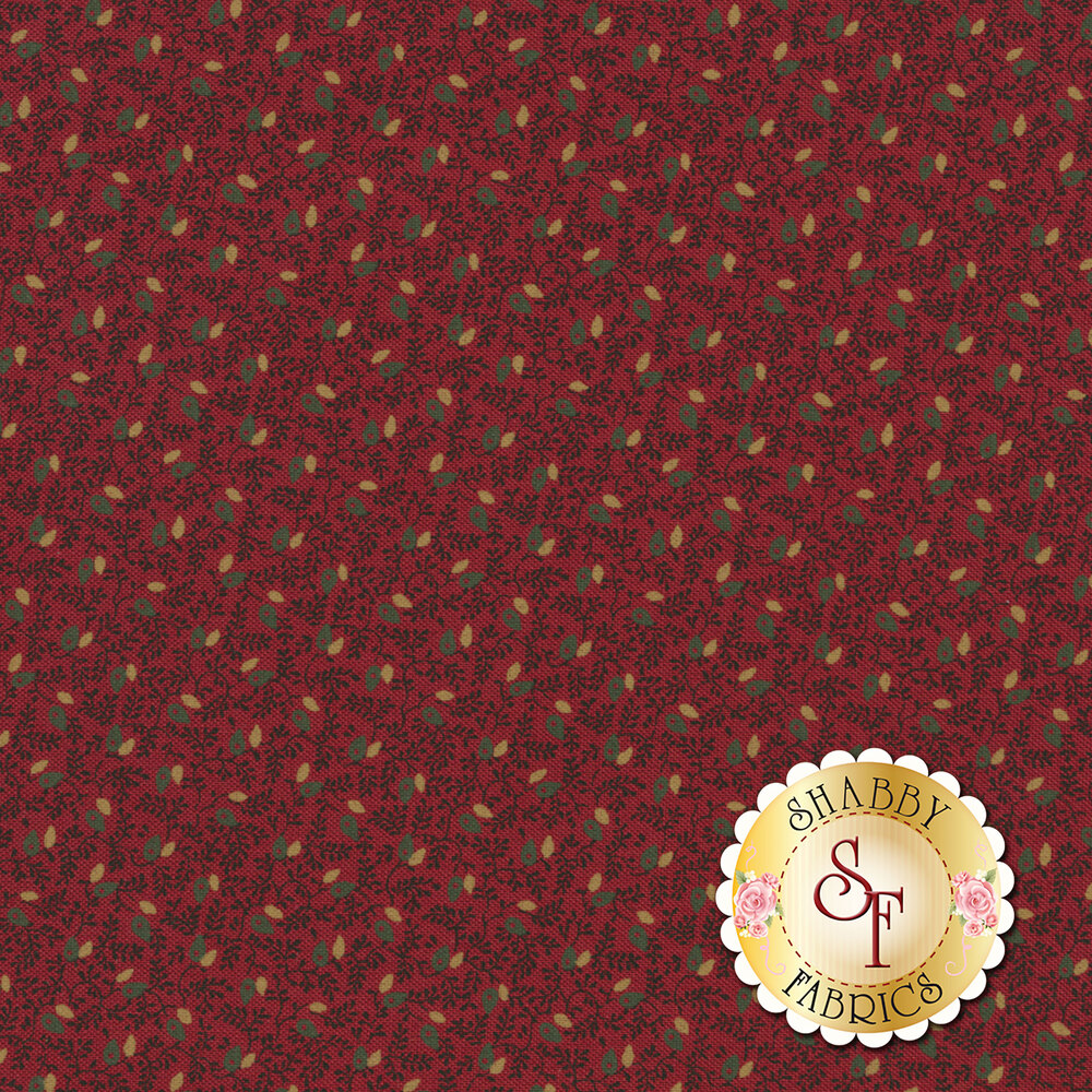 Green and tan leaves/flowers all over sprigs on red | Shabby Fabrics