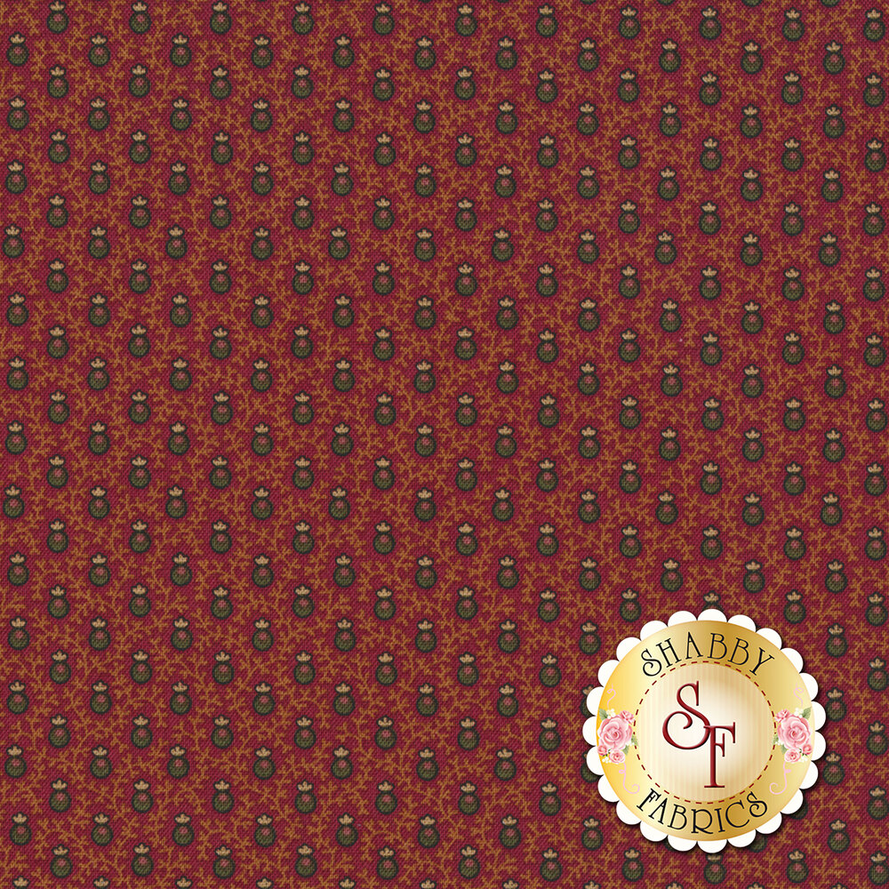 Green berries on red with gold vines all over | Shabby Fabrics