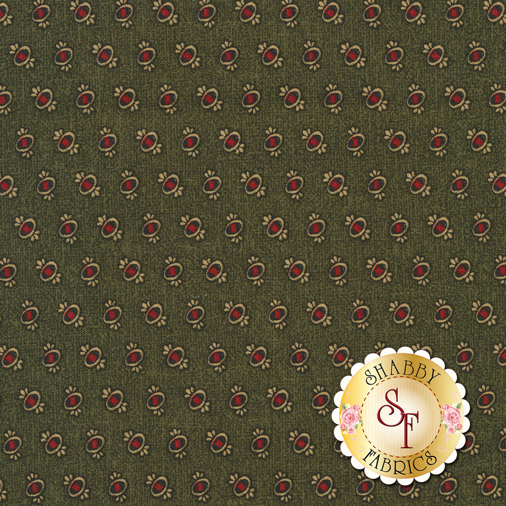 Ovals with red and gold on textured green | Shabby Fabrics