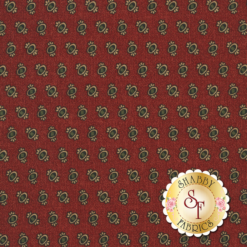 Ovals with green and gold on textured red | Shabby Fabrics