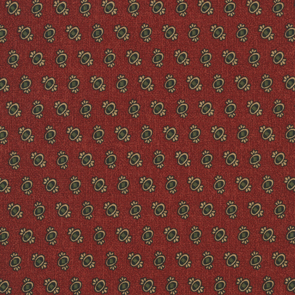 Ovals with green and gold on textured red   Shabby Fabrics