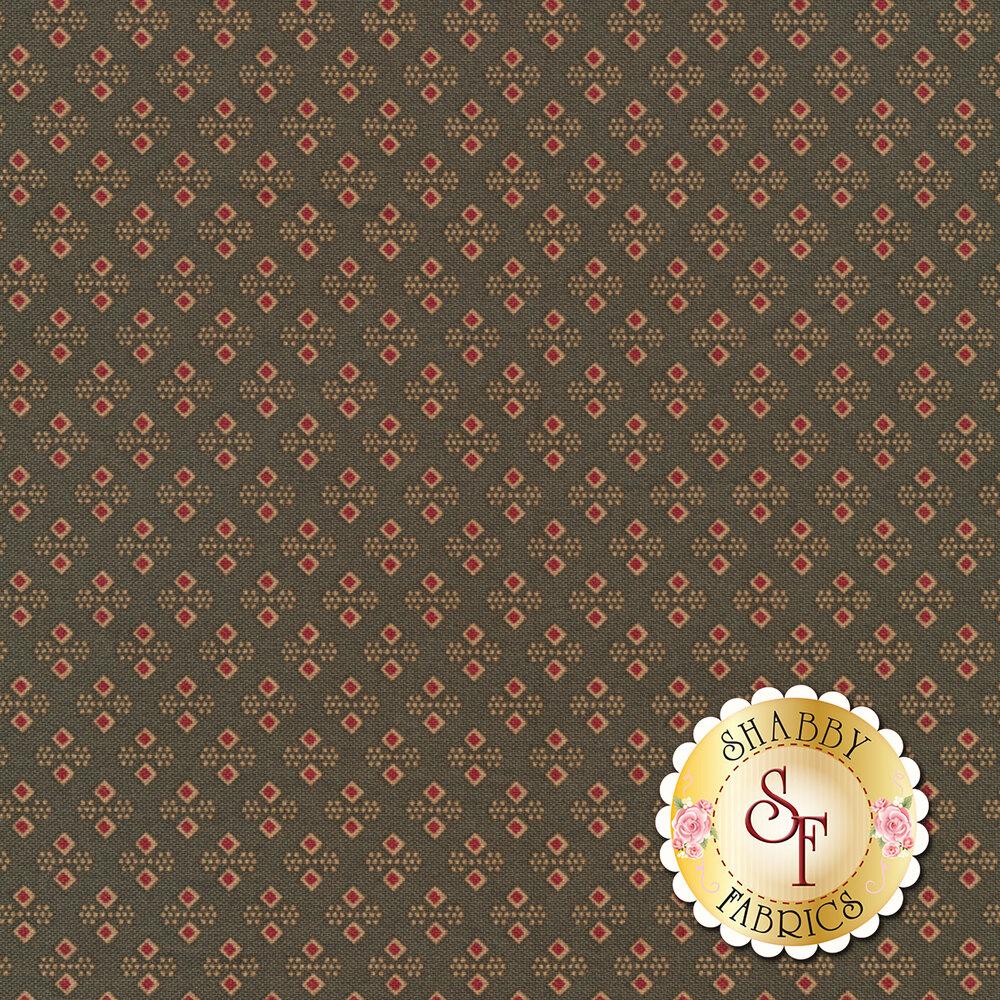 Red diamond and dot clusters on grayish green | Shabby Fabrics