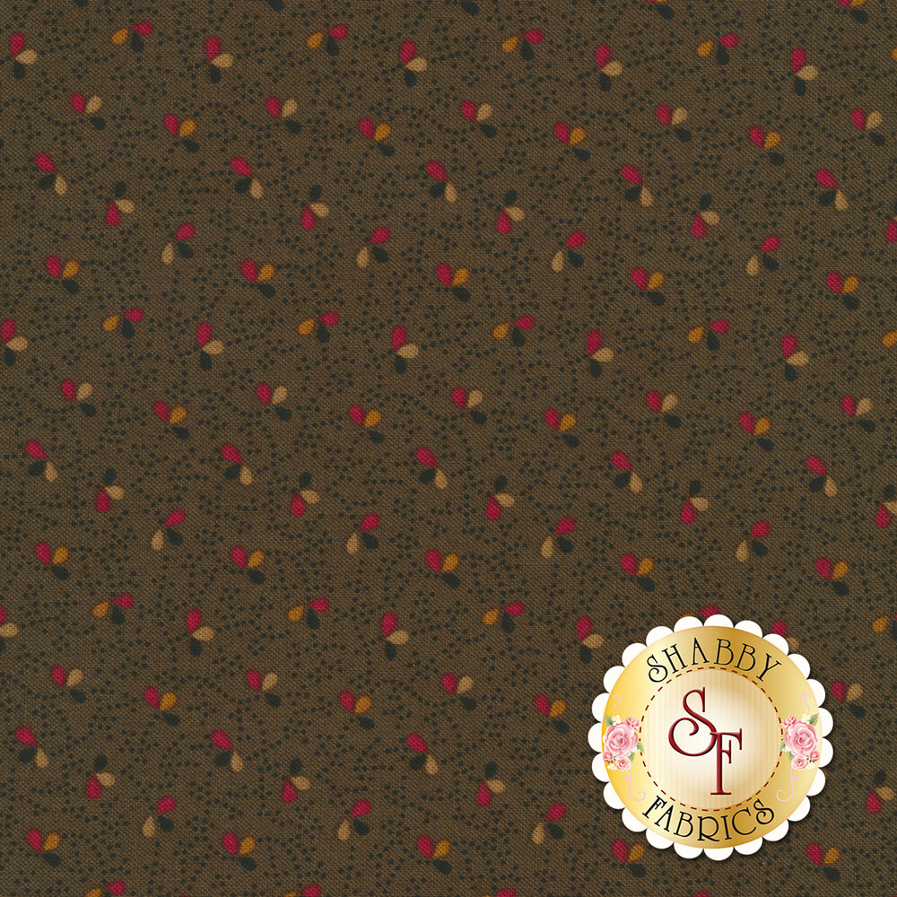 Small black dots with leaves/petals on green | Shabby Fabrics