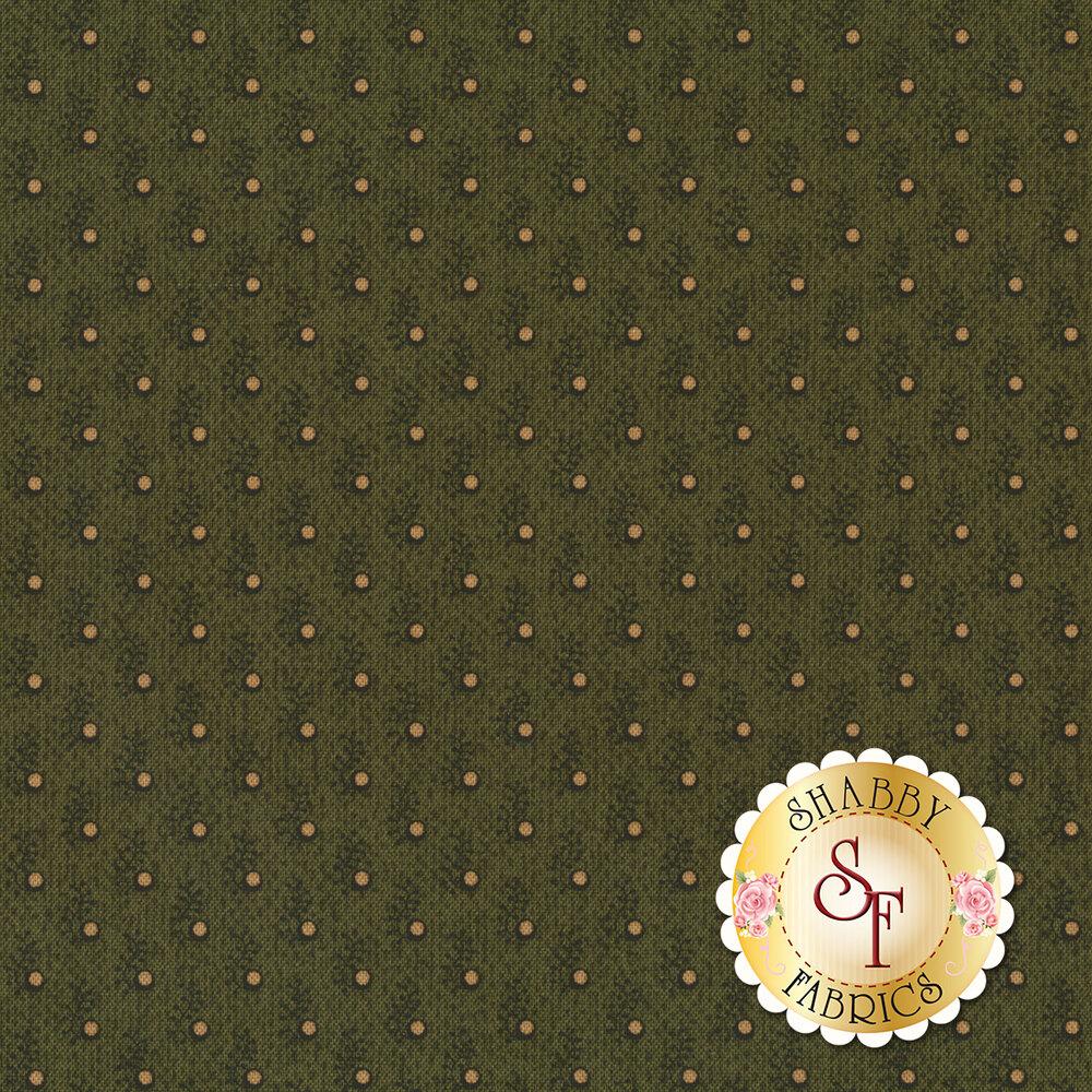 Tan dots on green sprigs on green | Shabby Fabrics