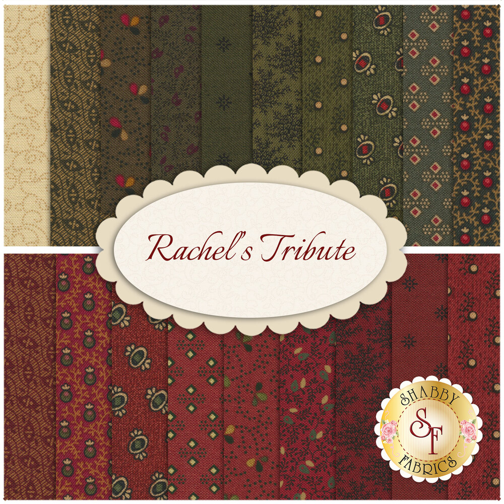 Collage of fabrics included in Rachels Tribute collection | Shabby Fabrics