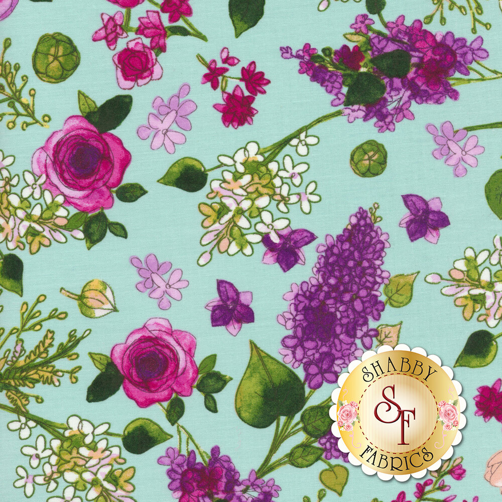 Colorful flowers tossed on aqua | Shabby Fabrics