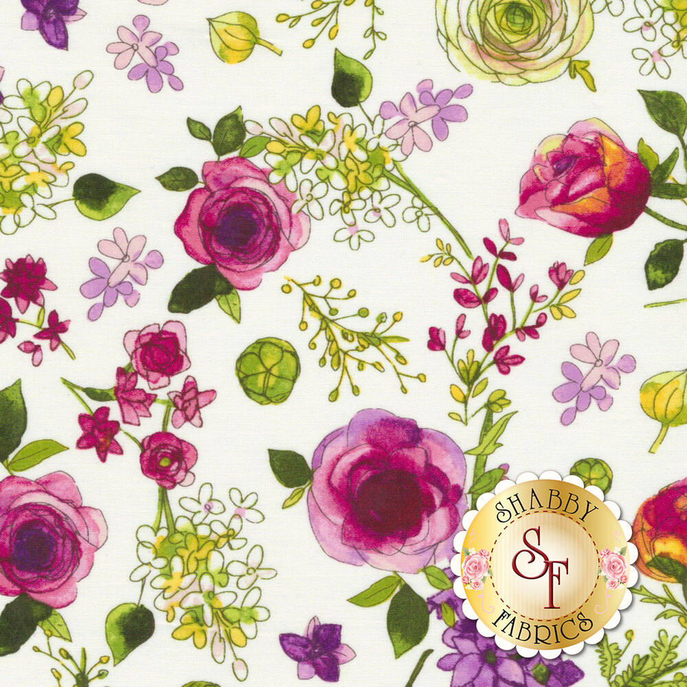 Colorful flowers tossed on white | Shabby Fabrics