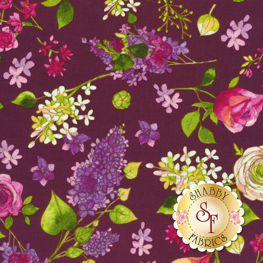 Colorful flowers tossed on purple | Shabby Fabrics