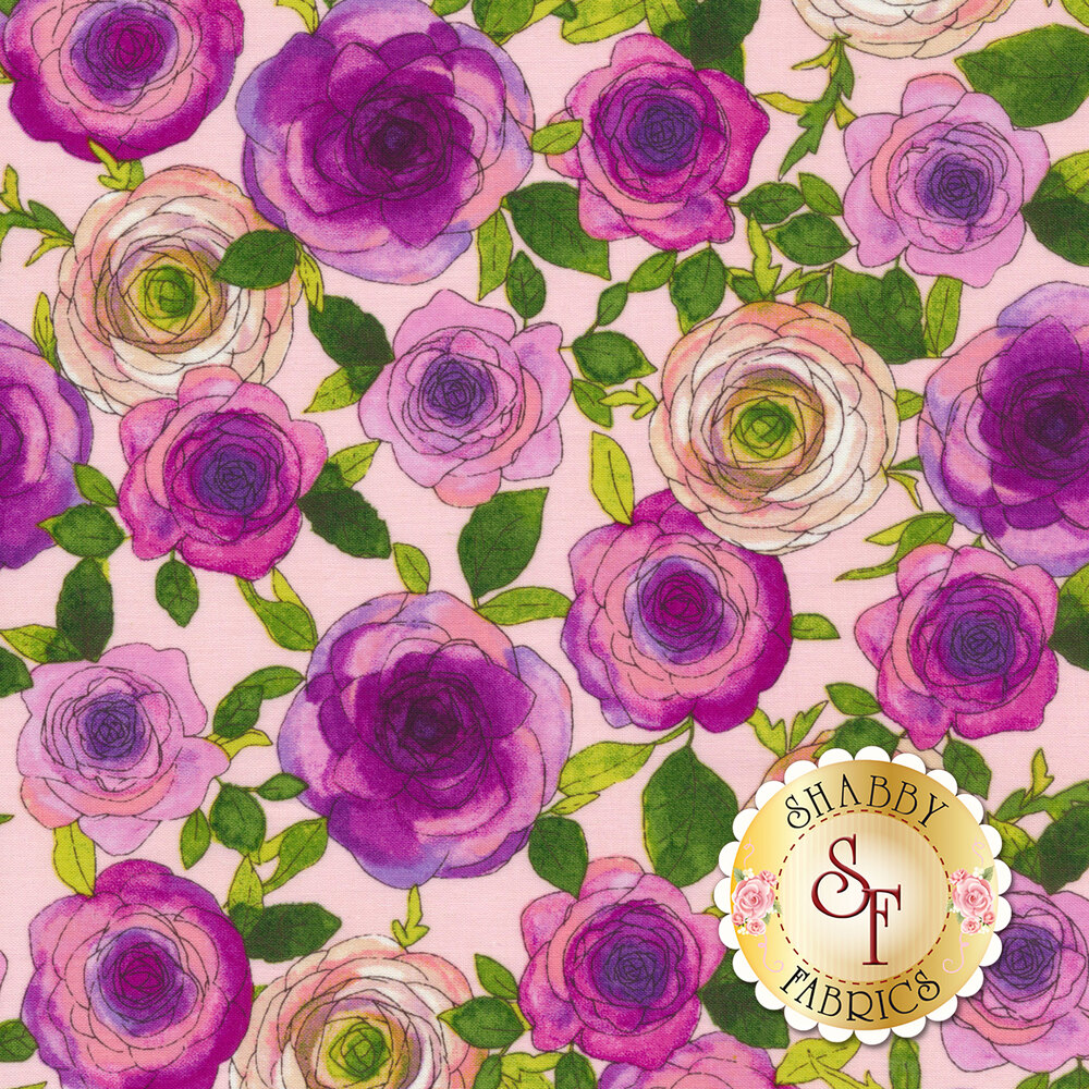 Pink flowers and green leaves on pink | Shabby Fabrics