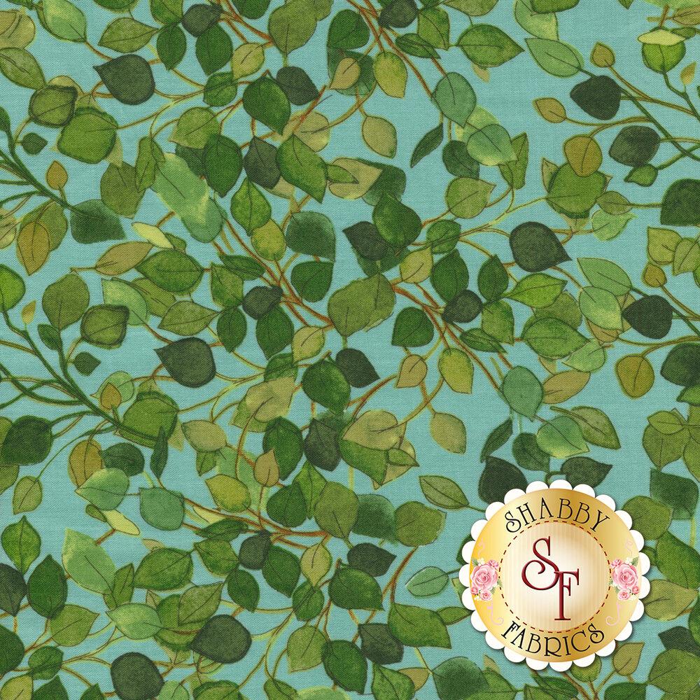 Green leaves all over aqua | Shabby Fabrics