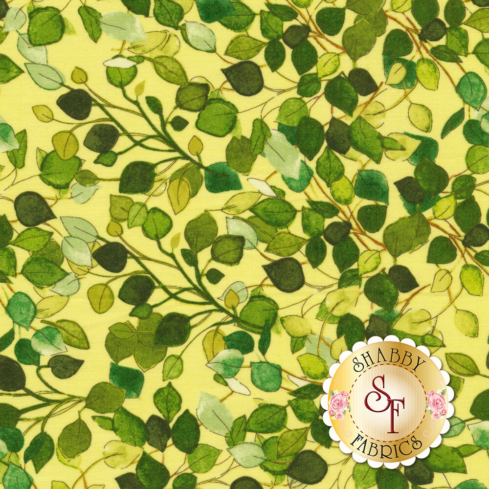 Green leaves all over yellow | Shabby Fabrics