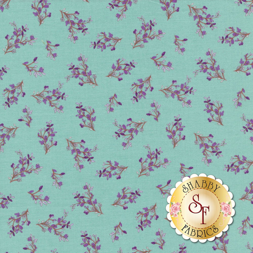 Purple leaves on branches tossed on teal | Shabby Fabrics