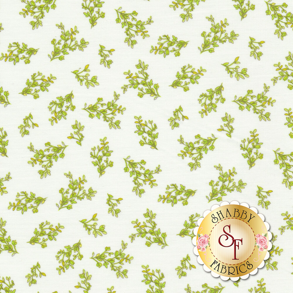 Leaves on branches tossed on white | Shabby Fabrics