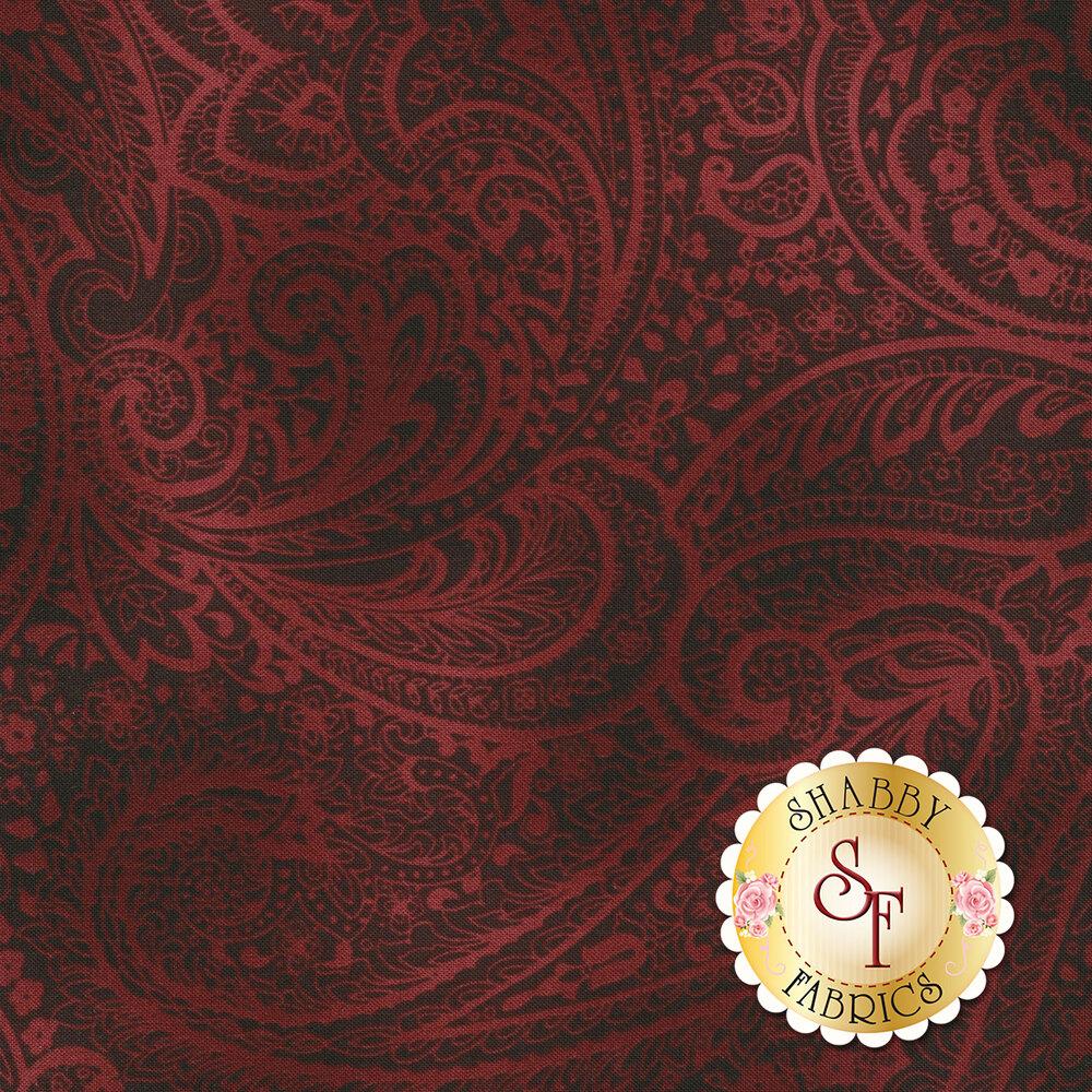 Tonal red paisley print   Shabby Fabrics