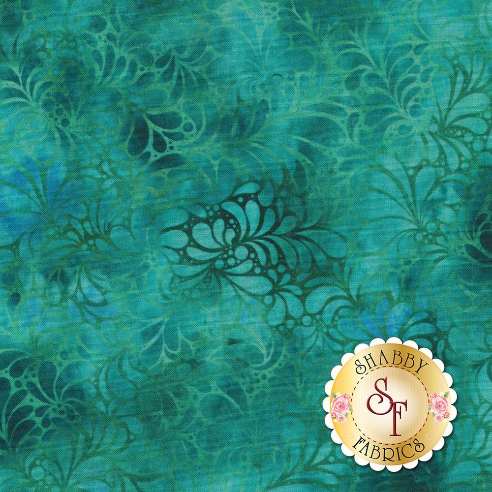 Turquoise mottled print with tonal leaves | Shabby Fabrics