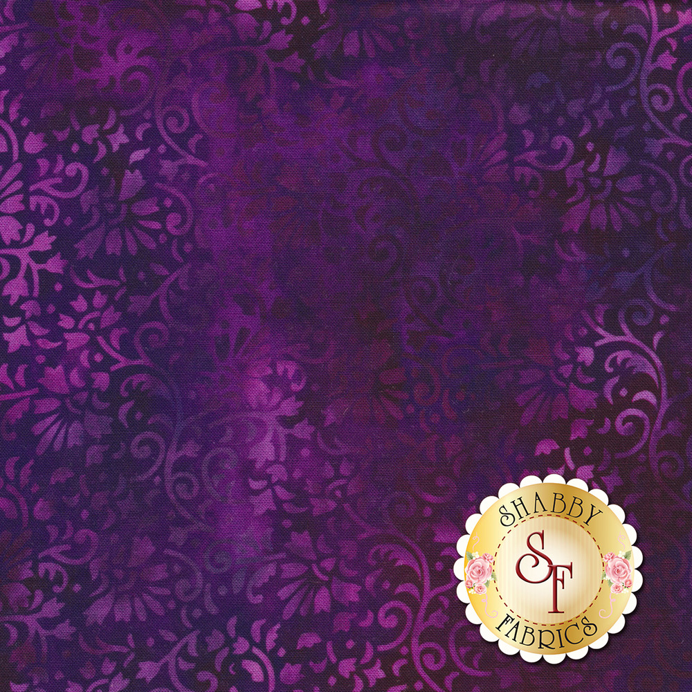 Dark purple tonal floral print | Shabby Fabrics