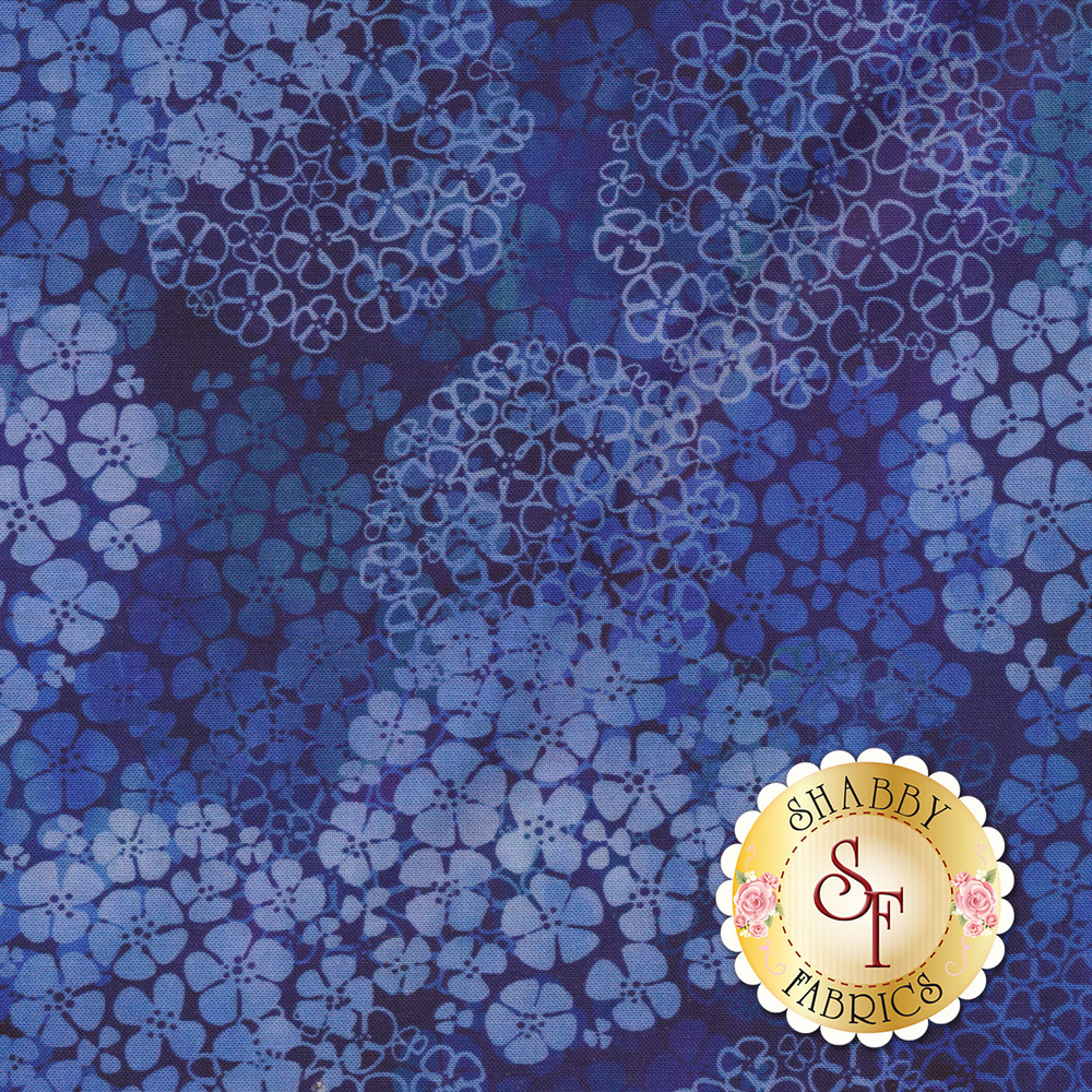 Tonal blue with clusters of fabric | Shabby Fabrics