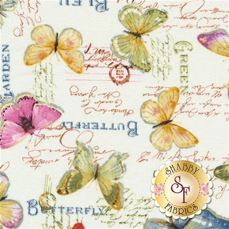 Rainbow Seeds 86423-176 Butterflies White by Lisa Audit for Wilmington Prints