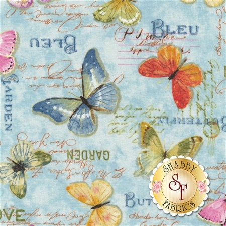 Rainbow Seeds 86423-476 Butterflies Blue by Lisa Audit for Wilmington Prints