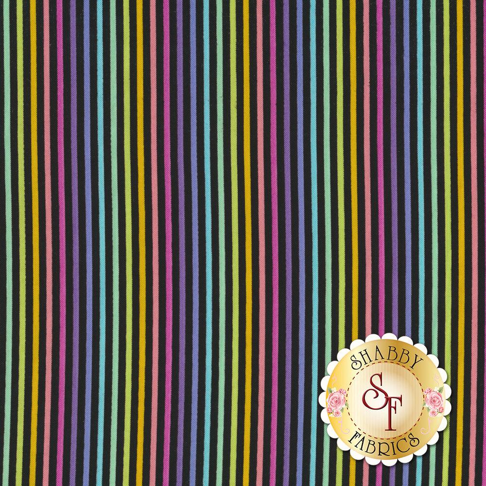 Multicolor stripes on black | Shabby Fabrics