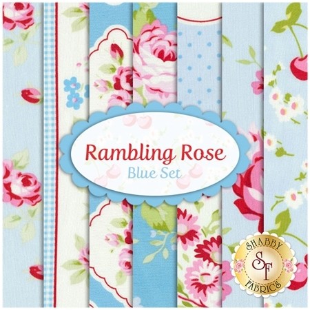Rambling Rose  7 FQ Set - Blue Set by Tanya Whelan for Free Spirit Fabrics