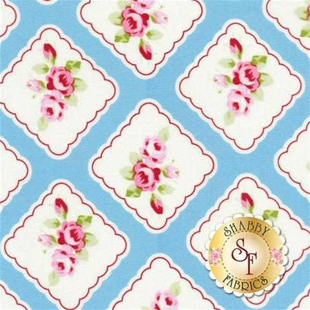 Rambling Rose PWTW130-BLUE by Tanya Whelan for Free Spirit Fabrics