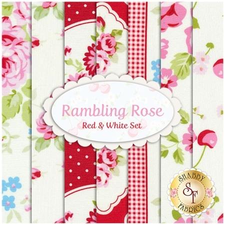 Rambling Rose  7 FQ Set - Red & White Set by Tanya Whelan for Free Spirit Fabrics