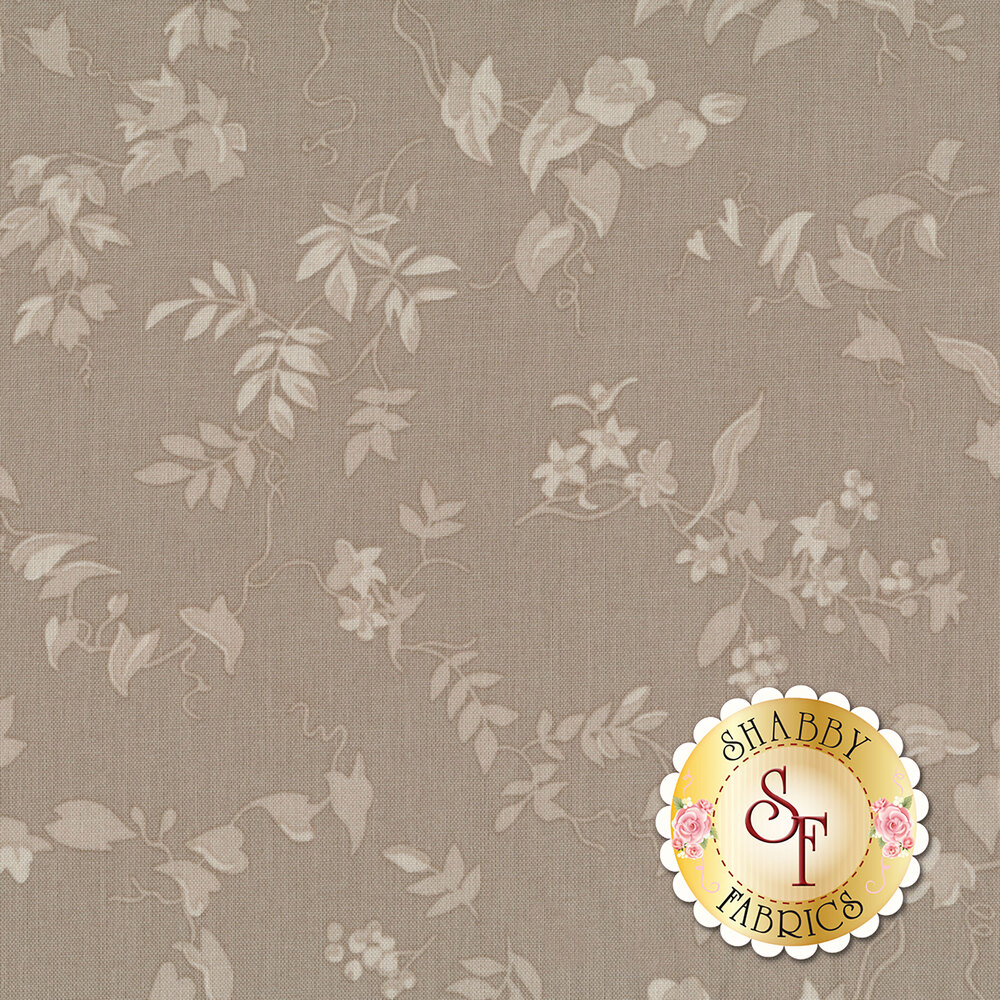 Tonal vines and leaves on a taupe background | Shabby Fabrics