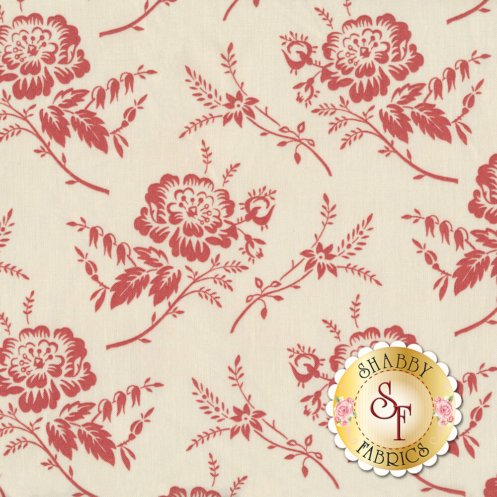 A stunning fabric with red flowers on a cream background | Shabby Fabrics