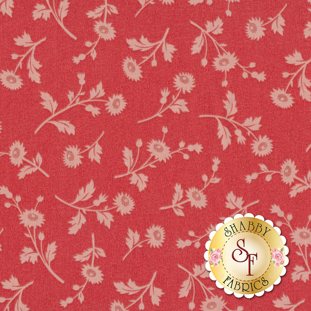 Beautiful tonal flowers on a red background | Shabby Fabrics