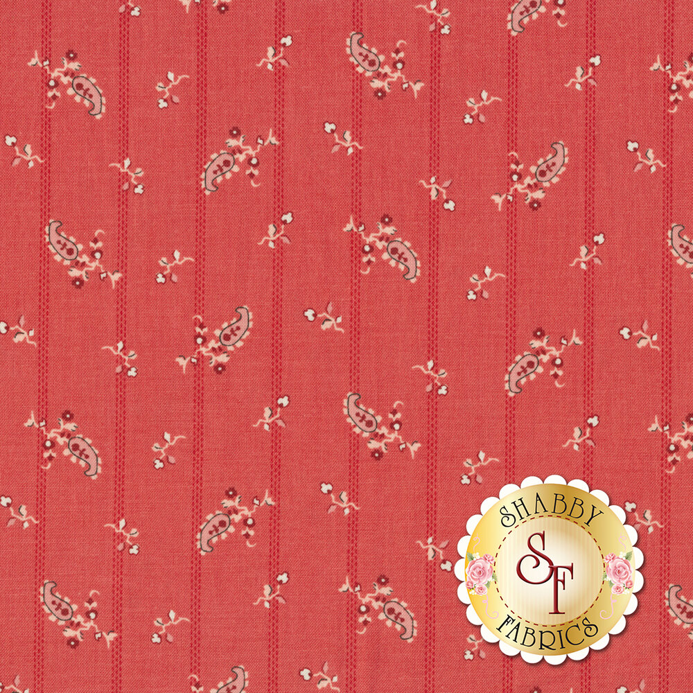 Tonal stripes with hanging flowers on a red background | Shabby Fabrics